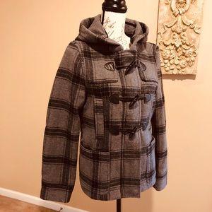 AEROPOSTALE Black and Gray Toggle Style Pea Coat